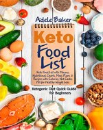 Keto Food List: Ketogenic Diet Quick Guide for Beginners: Keto Food List with Macros Nutritional Charts Meal Plans & Recipes with Calories Net Carbs Fat for Healthy Weight Loss (keto food list book) - Book Cover