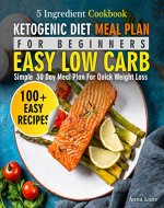 Ketogenic Diet Meal Plan for Beginners: An Easy, Low Carb, 5-Ingredient Cookbook: A Simple 30-Day Meal Plan for Quick Weight Loss - Book Cover
